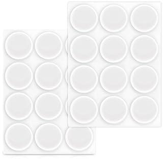 Navaris 24x tampon élastique en silicone - Autoadhésif en silicone pour les murs, armoires et le verre Ø 22mm - Kit de 24 butoirs arrête-portes
