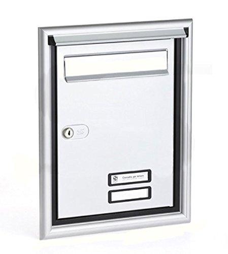 Puerta Postale completa para exterior empotrable a pared Silmec-Aluminio Silver