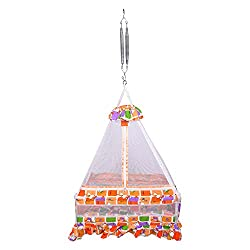 Thosh Baby Products Maharani S Hanging Cradle Jhula Jhoola Swing With Top and With Mosquito net & Free Spring ORANGE