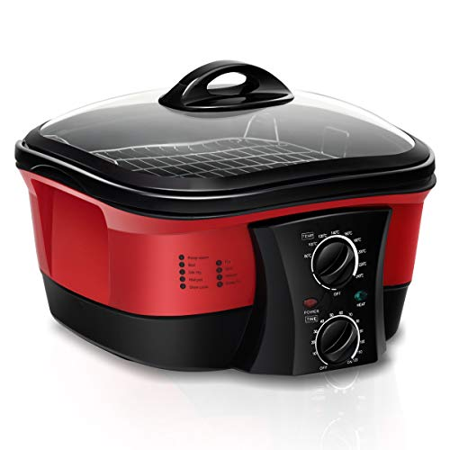 COSTWAY 8 in 1 Multikocher Slow Cooker Schongarer Multicooker mit Temperaturregler✔ 5 L✔ ink. Dampfständer, Frittierkorb, Spieße ✔1500W✔Timer✔ Glasdeckel ✔ (Rot)