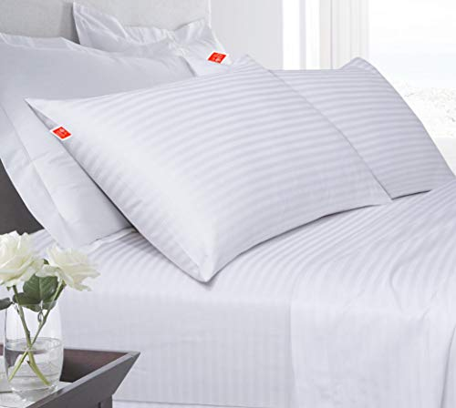 Kanushi Industries Super Soft Reliance Fiber Gel (with Lines/Stripes) Bed Pillow - 40 X 60 cm (Set of 2) (White Color)