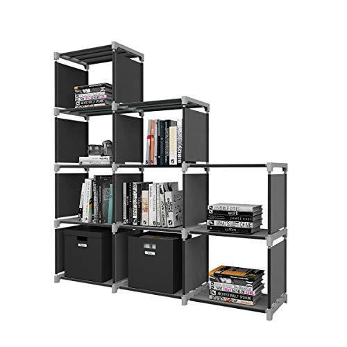 Dlandhome scaffale fai da te 9 cubi aperti libreria con ripiani aperti per casa studio armadio da esposizione organizzatore per soggiorno, nero