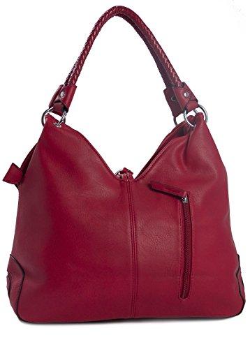 Big Handbag Shop donna intrecciato due manico Tassel effetto Hobo Borsa A Tracolla Red (LL539)