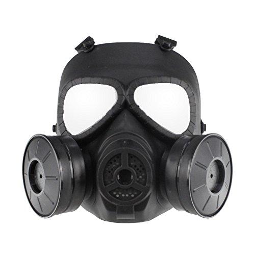 (UKCOCO Taktische Gasmaske Airsoft Schutzmaske Volles Gesicht Augenschutz Schädel Dummy Toxische Gasmaske für BB Gun CS Cosplay Kostüm Halloween Maskerade (Schwarz MA-85-BK))