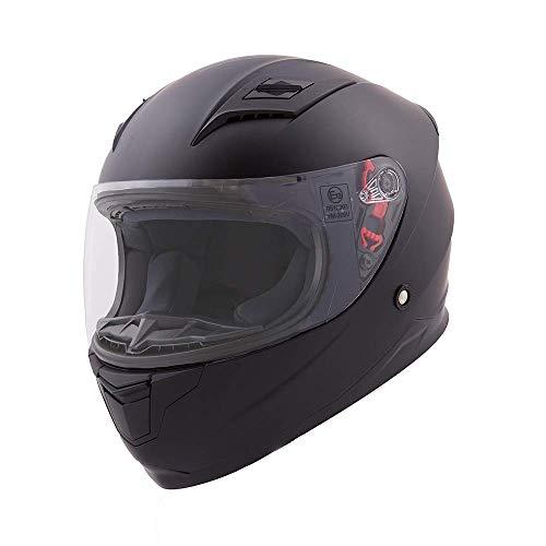 Vinz Kinder Integralhelm/Rollerhelm Basic | Kinder Motorradhelm in Gr. XXXS-XS | Integral Helm mit Visier (XXS (49-50 cm), Matt Schwarz)