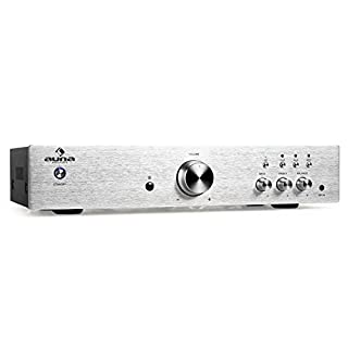 auna AV2-CD508 • HiFi Audio Amplifier • Home Cinema Amplifier • Music System • Stereo Amp • 600W Max. Power • 2-band EQ • AUX In • 3 Stereo RCA Line Inputs • RCA Output • Remote Control • Silver
