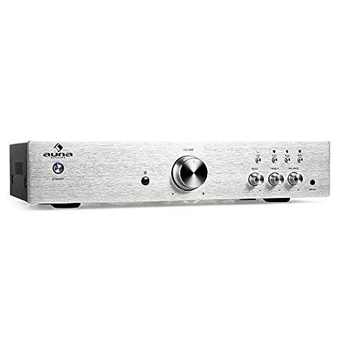 Auna AV2-CD508 HiFi-Verstärker (600 Watt, 3x Stereo-Cinch, AUX, Fernbedienung, gebürstetem Edelstahl) silber
