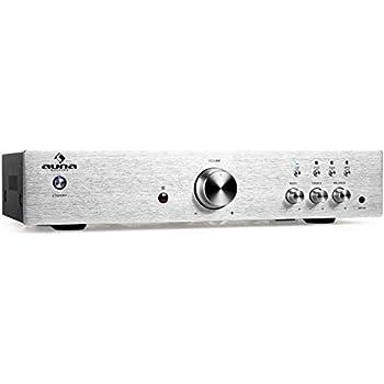 Auna AV2-CD508 - Ampli HiFi Stereo avec 3 entrées RCA, une entrée AUX et égaliseur 2 bandes (125W RMS, télécommande, facade en acier brossé) - argent