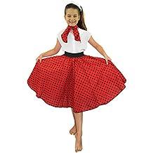 Deluxe niña Rock N Roll falda para disfraz de 26pulgadas de largo (66cm), diseño de lunares, 50'S falda con cuello bufanda de Rock and Roll Swing traje niño