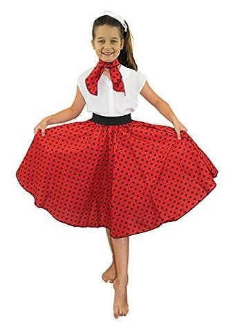 Jupe longue pour enfant rouge à pois noirs style Rock'n Roll des années 50 avec un petit foulard assorti. Idéal pour les spectacles de danse ou les fêtes de fin d'école.