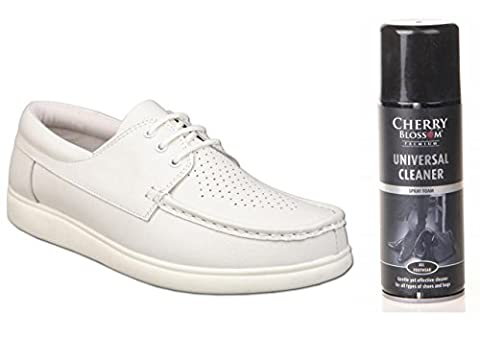 Mens White Leather Bowling Green Shoes Bundle With Shoe Cleaner (2 items) (Size 8)