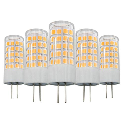 G4 LED 12V 4W Warmweiß 3000K Lampen Ersetzt 40W Halogen Nicht Dimmbar, G4 Bi-Pin Sockel Glühbirne für Dunstabzugshauben, 5er Pack [MEHRWEG] - Bi-pin-halogen-sockel