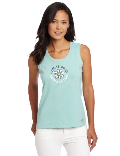 Life Is Good Damen Ärmellos Scoop einfach Daisy Crusher Tee XS Tide Blue