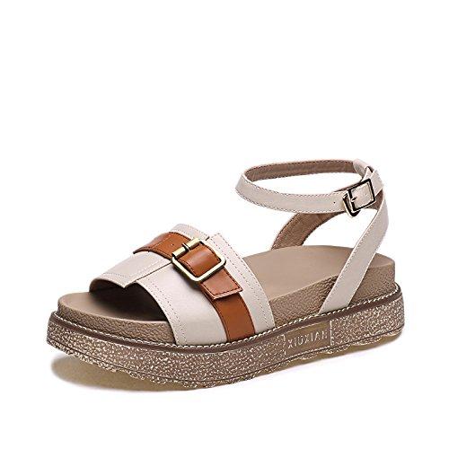 ZPPZZP Ms sandali stile Coreano con spessa rilassarsi in estate studenti beige 35EU 35EU