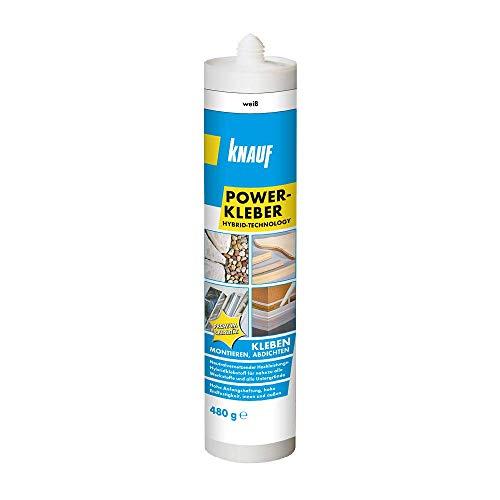 Knauf Power-Kleber 480 g – Power-Klebstoff, gebrauchsfertiger, einkomponentiger Hybrid-Klebstoff, lösemittelfrei witterungs- und feuchtebeständig zum Kleben, Montieren, Innen- und Außen-Bereich