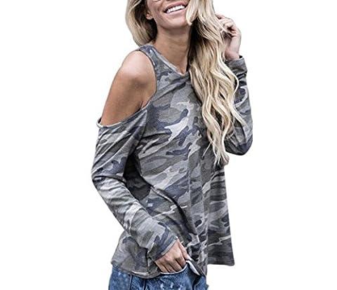 Tonwalk Women Tops Off Shoulder Camouflage Long Sleeve Blouse T-Shirt (XL)