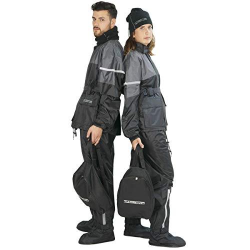 TJ MARVIN Set antipioggia CLASSICO E30 composto da giacca, pantaloni, copristivali, collare pile, zaino, Nero grigio, M