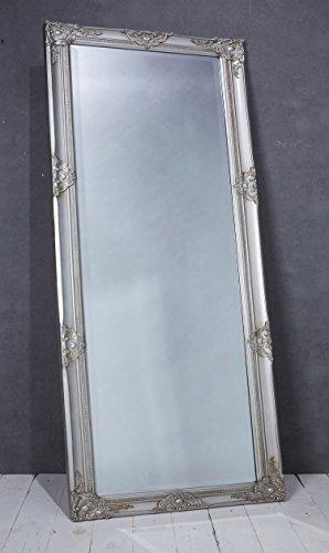 Wholesaler GmbH Wandspiegel Spiegel Silber ca. 180 x 80 cm Antik Stil Barock mit Facettenschliff - XL Ankleidespiegel Ganzkörperspiegel Garderobenspiegel Holzrahmen