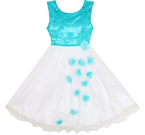 Mädchen Kleid Tüll Auflage Bestickte Blume Prinzessin Gr.122 (Bestickte Mädchen-kleid)