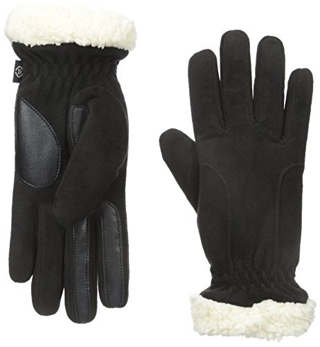 Isotoner Women's Stretch Fleece SherpaSoft Gloves, Black, One Size