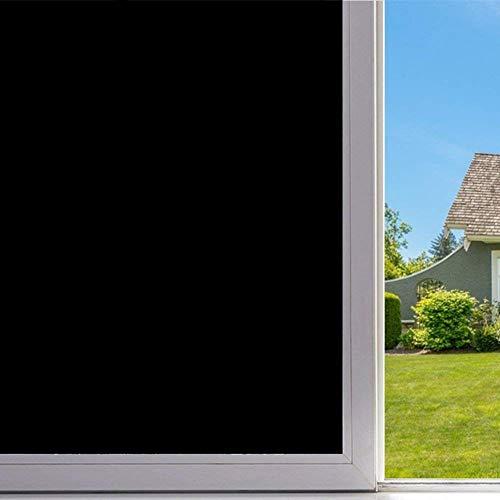 BlueDream Privatsphäre Blackout Fenster Film Anti UV Static Cling Fensteraufkleber 100% Licht blockieren DIY Fenster Film Kein Klebstoff für Raumverdunkelung Home Security (45 * 200cm, Schwarz)