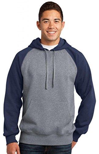 Sport-Tek® Raglan Colorblock Pullover Hooded Sweatshirt. ST267 True Navy/ Rib Fleece-v-neck Sweatshirt