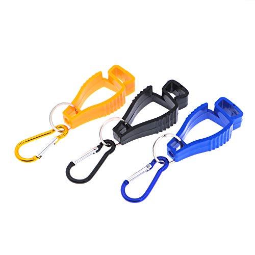 Spurtar Handschuh Clip (3 Stück) mit Karabiner Haken - Feuerwehr Handschuh Grabber Arbeits- Handschuh Halter-Klammer für Sicherheit am Arbeitsplatz - Orange, Blau, Schwarz