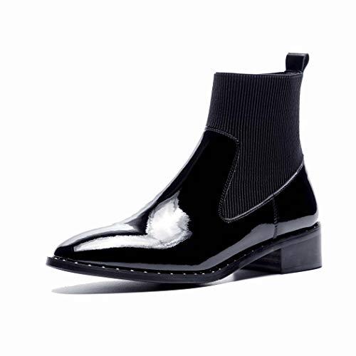 MISS&YG Womens Knöchel Rain Boots-Damen Wasserdichter Winter Spring Garden Boot Patent Lederstiefel,Black,38 (Patent-oxford-schuhe Womens)
