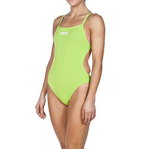 arena Damen Wettkampf Solid Lighttech High Badeanzug, Leaf/White, 34