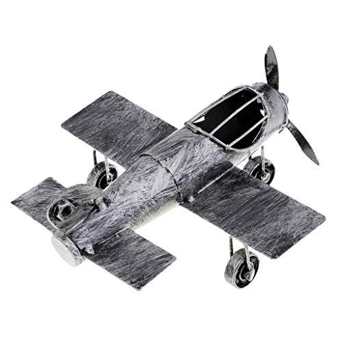 D DOLITY Retro Jahrgang Flugzeug Doppeldecker Militärflugzeug Modell Flugzeugmodell - Silber Schwarz