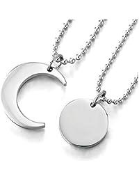 69927d3403cd iMETACLII Par Parejas Amantes Luna y Sol Emparejado Collar Colgante