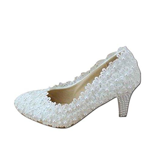 Brautschuhe - elegante Spitze Blumen Hochzeit Schuhe weiß hochhackige Perle Braut Schuhe Hochzeit Schuhe (mit hoch: 6cm) (Farbe : Weiß, größe : 36)