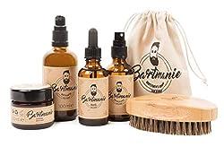 Bartmanie 5 teiliges Bartpflege Geschenk-Set bestehend aus Bartshampoo (100ml), Bartwuchsspray (50ml), Bartwachs (50ml), Bartöl (50ml) & Bartbürste