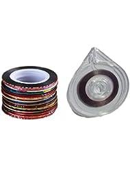 Rollo de etiquetas de patrón para uñas acrílicas Sannysis Color ROLLOS CINTA ARTE DECORACIÓN NAILART (1PC Caja + 30PCS Rollo de uñas)