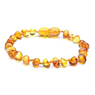 Genuine Baltic Amber Bracelet - Polished Honey Color Anklet - 100% Authentic Baltic Amber - Handmade Jewelry (12cm)
