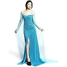 Adulto Elsa Princess Costume Long Dress for Frozen Disguise para Mujeres Disfraz elegante Disfraz FD2
