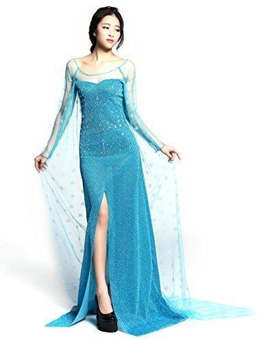 Imagen de adulto elsa princess costume long dress for frozen disguise para mujeres disfraz elegante disfraz fd2
