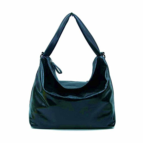 OBC DAMEN TASCHE SHOPPER METALLIC Henkeltasche Handtasche Schultertasche Umhängetasche Hobo-Bag Dunkelblau V1 (Korb-geldbeutel-handtasche)