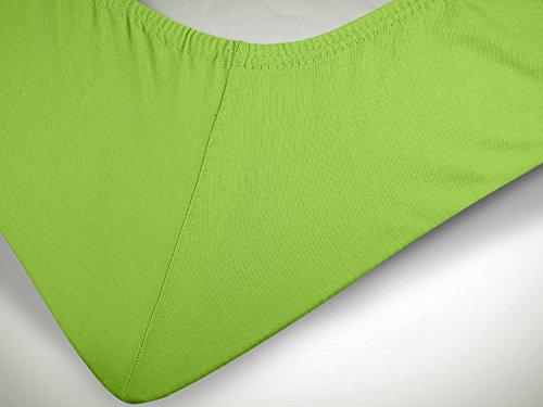 npluseins klassisches Jersey Spannbetttuch - erhältlich in 34 modernen Farben und 6 Verschiedenen Größen - 100% Baumwolle, 70 x 140 cm, Kiwi - 6