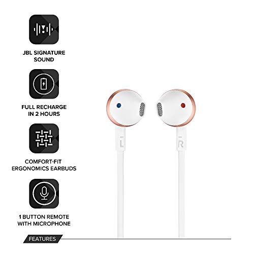 JBL T205BT Pure Bass Wireless Metal Earbud Headphones with Mic (Rose Gold) Image 3