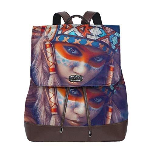 Flyup Native American Girl Microfiber Leather Backpack Ladies Elegant Ladies Travel Shoulder Bag Damen Leder Rucksack (Männer Native American-kleidung Für)