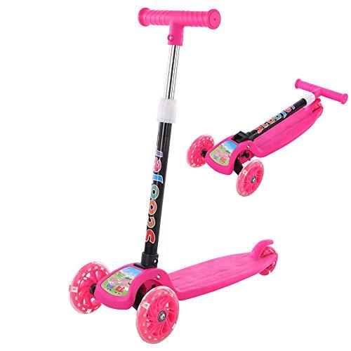 Jahre alt Jungen Mädchen höhenverstellbar Klapp 3 Wheeler Kinderspielzeug Fahrzeug rosa blau BAAYD Geschenk-Rose red ()