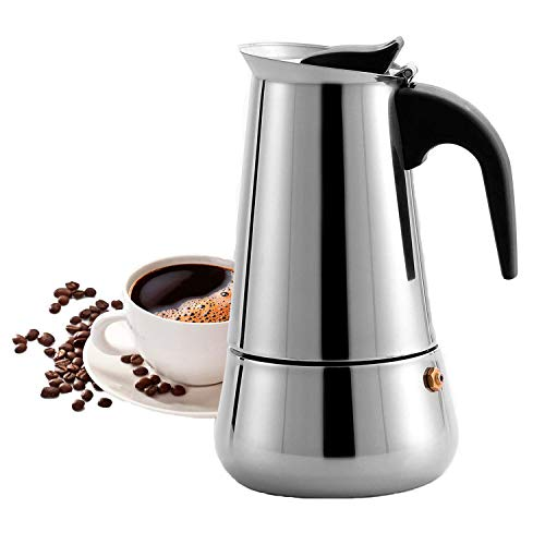 MAJALiS Espressokocher Induktion geeignet,Espressokanne Edelstahl für Haus und Büro für Gas, Elektro-Herd, Ceran-Feld und Induktion Herd,Moka-Kanne