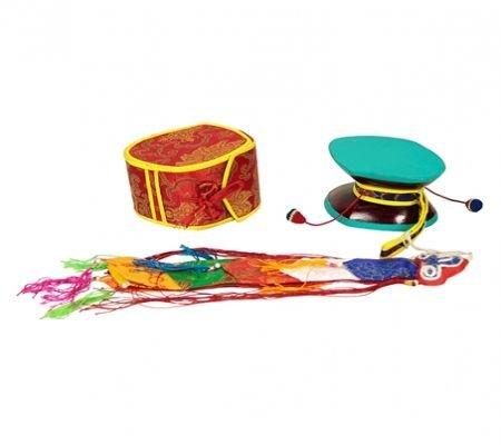 Die mystische Trommel (Damaru) + roter Tasche (Rot Tasche Brokat)
