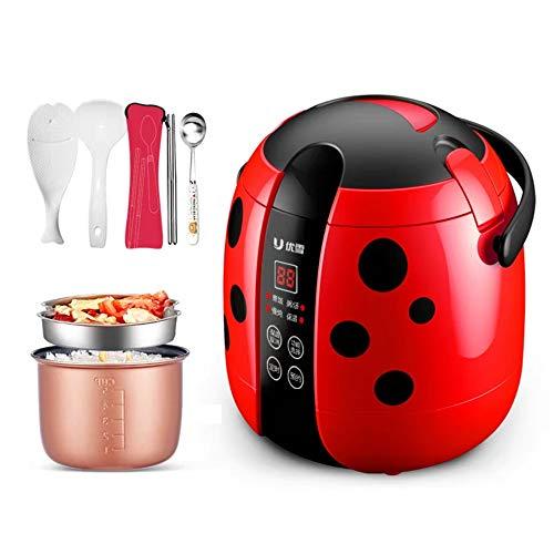 Gkingif-Hot Pot Heißer Topf-Netter Käfer Intelligenter Reiskocher Tragbarer Mini 1~2 Elektrischer Kocher, 1.2L 200W (Farbe : Rot)