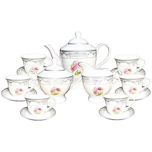 Milch-kessel (17 Stück Silber Blumen Design Tee Milch Zucker Kessel Tasse Untertassen Set für 6 T903A-17 [A-bis-Z-Deals])