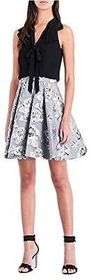 Karen Millen Floral Jacquard Dress Silver Black Skater