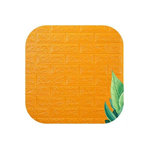 Strawberryran Dekofliesen Self Adhesive 3D Brick-Wand-Aufkleber Wohnzimmer Schaum Wasserdichtes Tapete Kinderzimmer, Gelb, 70X38Cm - Keramische Wand-panel