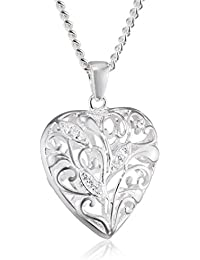 Elements Sterling Silver P2807 Ladies' Polished Silver Heart Pendant on Chain m2iDV