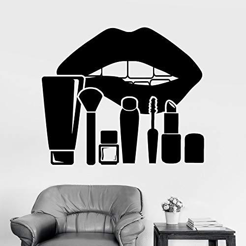 Vinyl Wandtattoo Lippen Make-Up Kosmetik Schönheitssalon Aufkleber Vinyl Removable Home Decor Diy Abziehbilder Nail Shops Fenster Dekor Weiß 56x61cm
